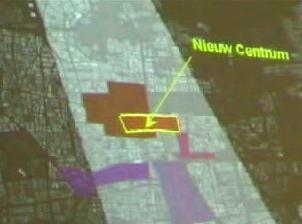Op dit plaatje is duidelijk te zien hoeveel invloed het nieuwe centrum op de historische bouw heeft