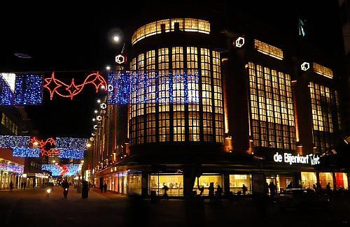feestverlichting centrum Den Haag, Foto Niek 't Hart
