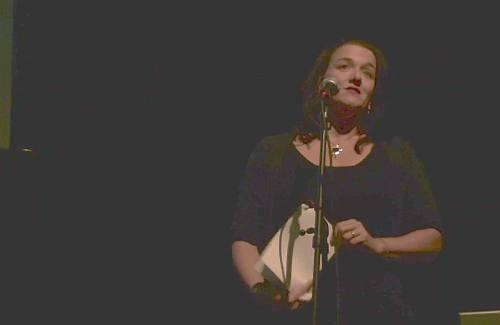 Babette Wagenvoort tijdens haar presentatie